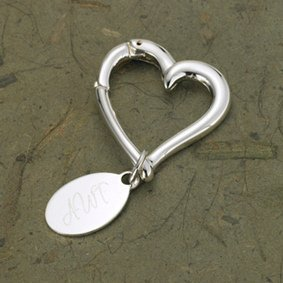 Personalized Heart Shaped Key Chain with Oval Tag image