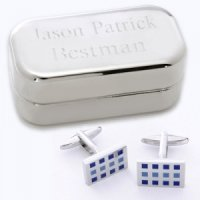Dashing 12 Square Cufflinks with Engraved Case