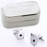 Dashing Aces Cufflinks with Personalized Case
