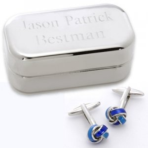 Dashing Blue Knot Cufflinks with Engraved Case image