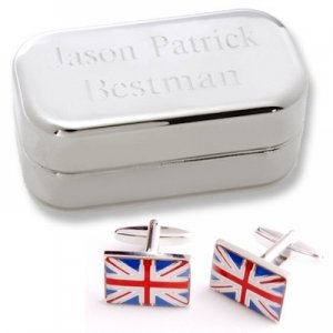 Dashing British Flag Cufflinks with Personalized Case image
