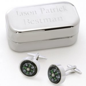 Dashing Compass Cufflinks with Engraved Case image