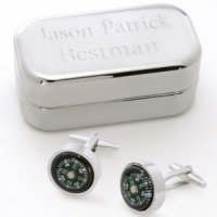 Dashing Compass Cufflinks with Engraved Case