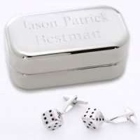 Dashing Dice Cufflinks with Personalized Case