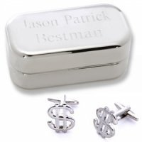 Dashing Dollar Sign Cufflinks with Personalized Case