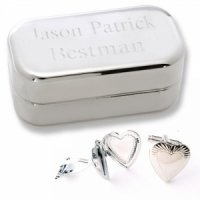 Dashing Heart Locket Cufflinks with Personalized Case