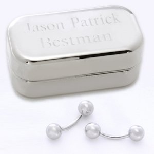 Silver Ball Cufflinks with Personalized Silver Case image