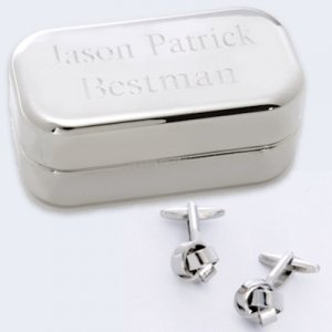 Silver Knot Cufflinks with Personalized Silver Case image
