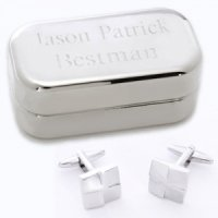 Silver Square Cufflinks with Engraved Silver Case