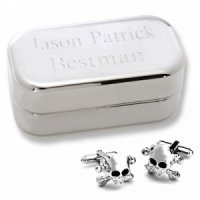 Dashing Skull & Crossbones Cufflinks with Personalized Case