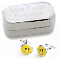 Dashing Smiley Face Cufflinks with Personalized Case