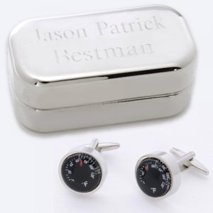 Dashing Thermometer Cufflinks with Engraved Case image