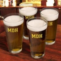 Monogrammed Pint Glass Set (3 Designs - 10 Colors)