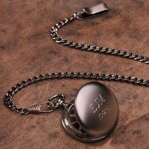Personalized Gun Metal Pocket Watch image