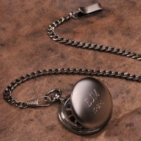Personalized Gun Metal Pocket Watch