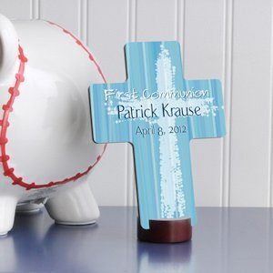 Personalized Blue First Communion Cross image