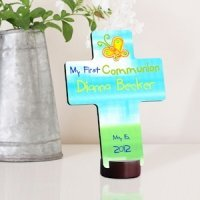 Sunshine and Butterflies Personalized First Communion Cross