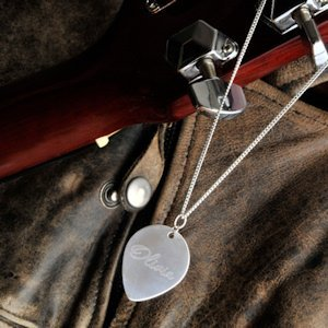 Personalized Sterling Guitar Pick Necklace image