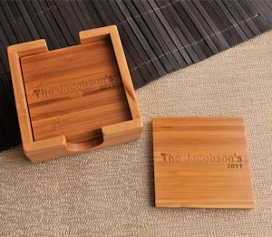 Personalized Bamboo Coaster Set image