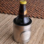 Brushed Chrome Koozie with Personalized Medallion