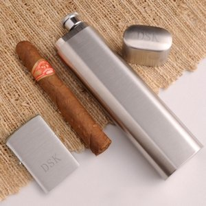 Personalized Cigar Case Flask & Zippo Lighter image