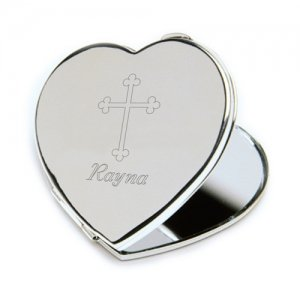Personalized Inspirational Heart Compact Mirror image