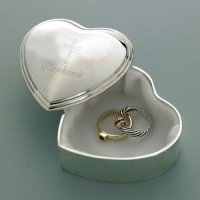 Cross Design Heart Trinket Box