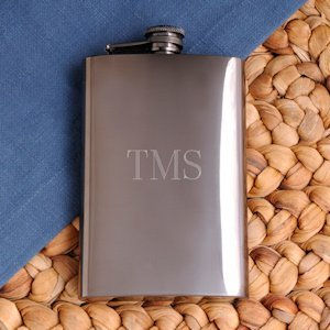 Personalized Gunmetal Flask image