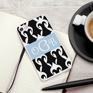 Personalized Black & White Damask iPhone Case image
