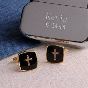 Gold Cross Cufflinks with Personalized Case image
