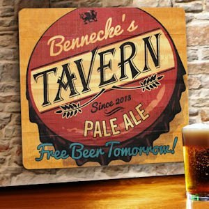 Free Beer Tomorrow Personalized Wood Tavern & Bar Sign image
