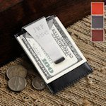 Engraved Leather Backed Money Clip (4 Colors)