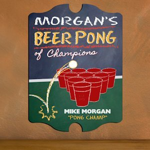 Vintage Personalized Beer Pong Champion Pub Sign image