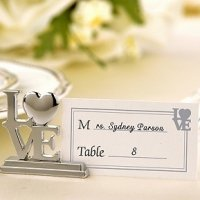 Silver LOVE Placecard Holder Wedding Favors (Set of 4)