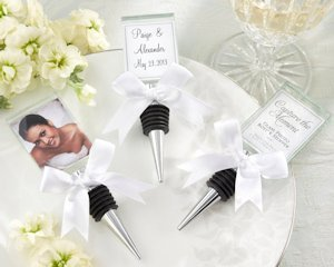 Glass Photo Holder and Bottle Stopper Combo Favor image