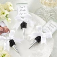 Glass Photo Holder and Bottle Stopper Combo Favor