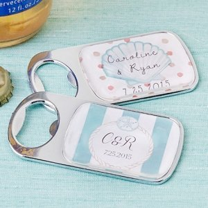 Personalized Beach Tides Silver Bottle Opener image