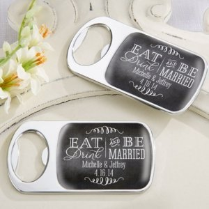 Personalized Eat Drink & Be Married Silver Bottle Opener image