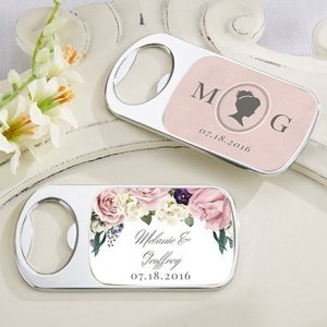 Personalized English Garden Silver Bottle Opener Favors image