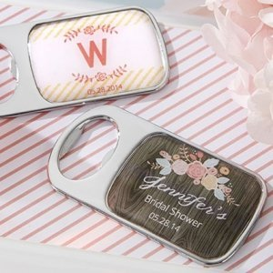 Rustic Theme Personalized Bottle Opener Shower Favors image