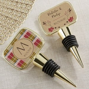 Personalized Fall Design Gold Bottle Stopper Favors image