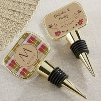 Personalized Fall Design Gold Bottle Stopper Favors