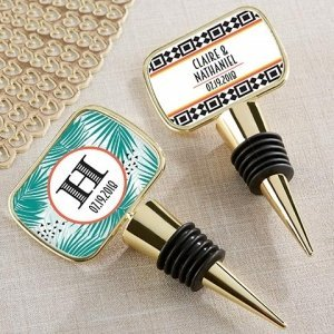 Personalized Tropical Chic Gold Bottle Stopper Favors image