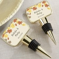 Personalized Fall Leaves Gold Bottle Stopper Favors
