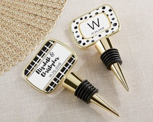 Personalized Modern Classic Gold Bottle Stopper Favors image