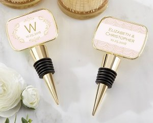 Personalized Modern Romance Gold Bottle Stopper Favors image