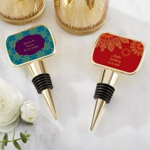 Personalized Indian Jewel Gold Bottle Stopper Favors image