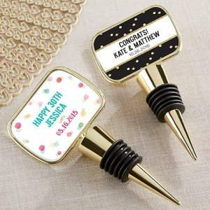 Personalized Party Time Gold Bottle Stopper Favors image