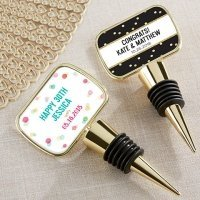 Personalized Party Time Gold Bottle Stopper Favors