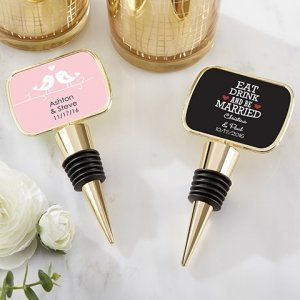 Personalized Wedding Gold Bottle Stopper Favors image
